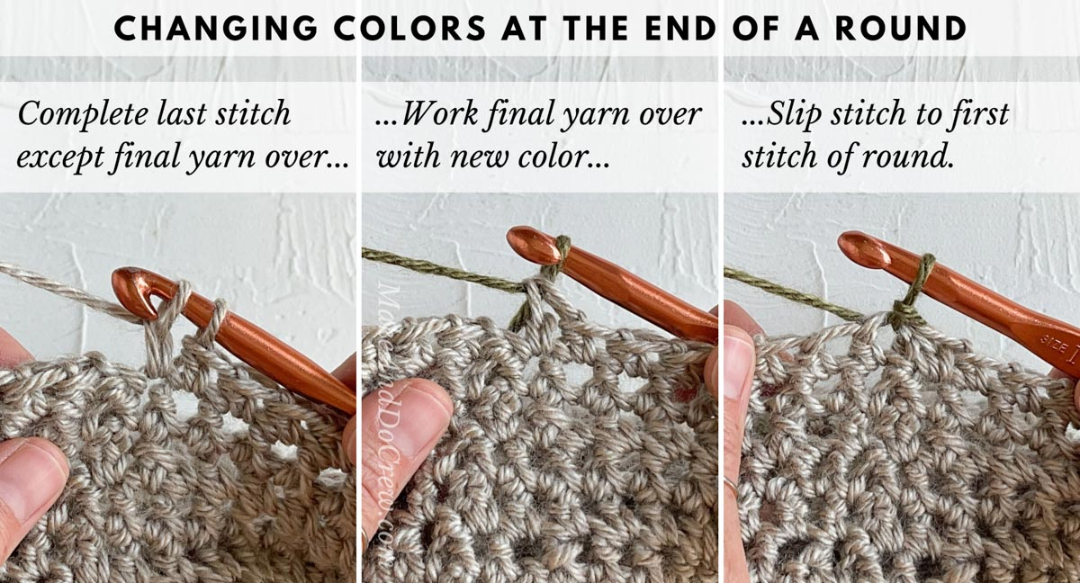 Tutorial teaching how to crochet a color block sweater, specifically how to switch colors at the end of a round in crocheting.