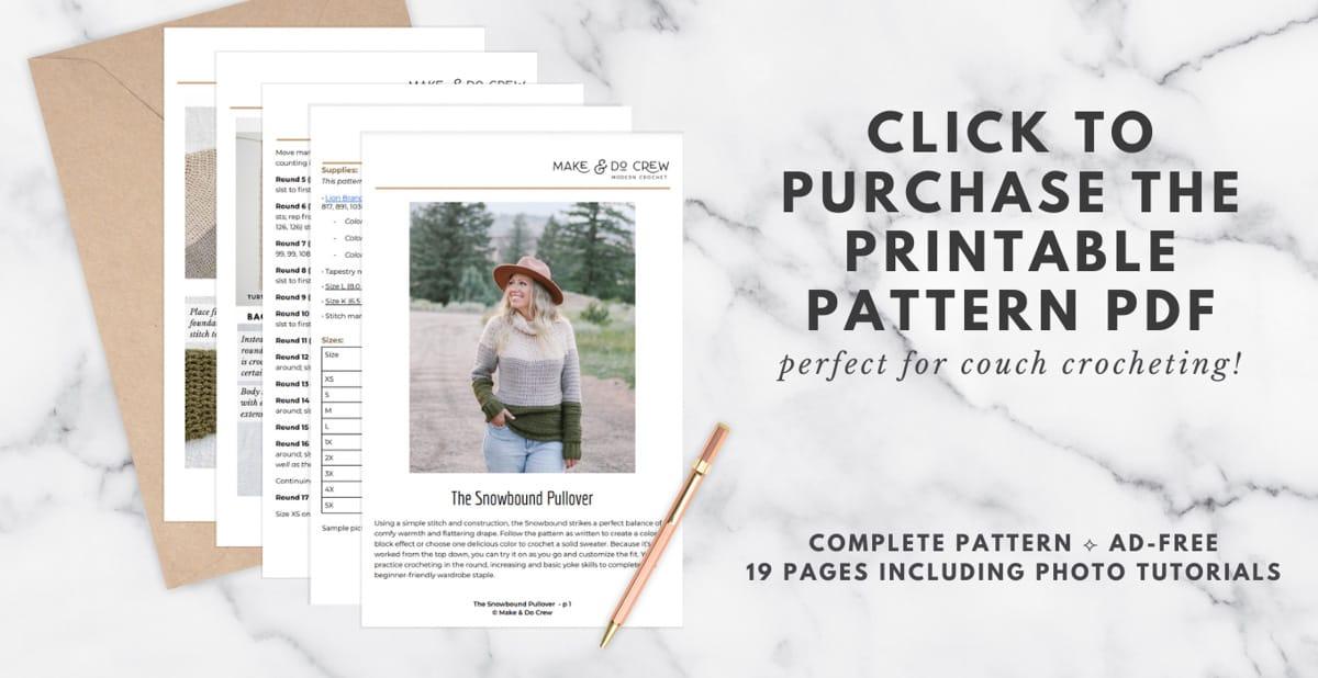 Top down view of a crochet yoke sweater printable PDF download.
