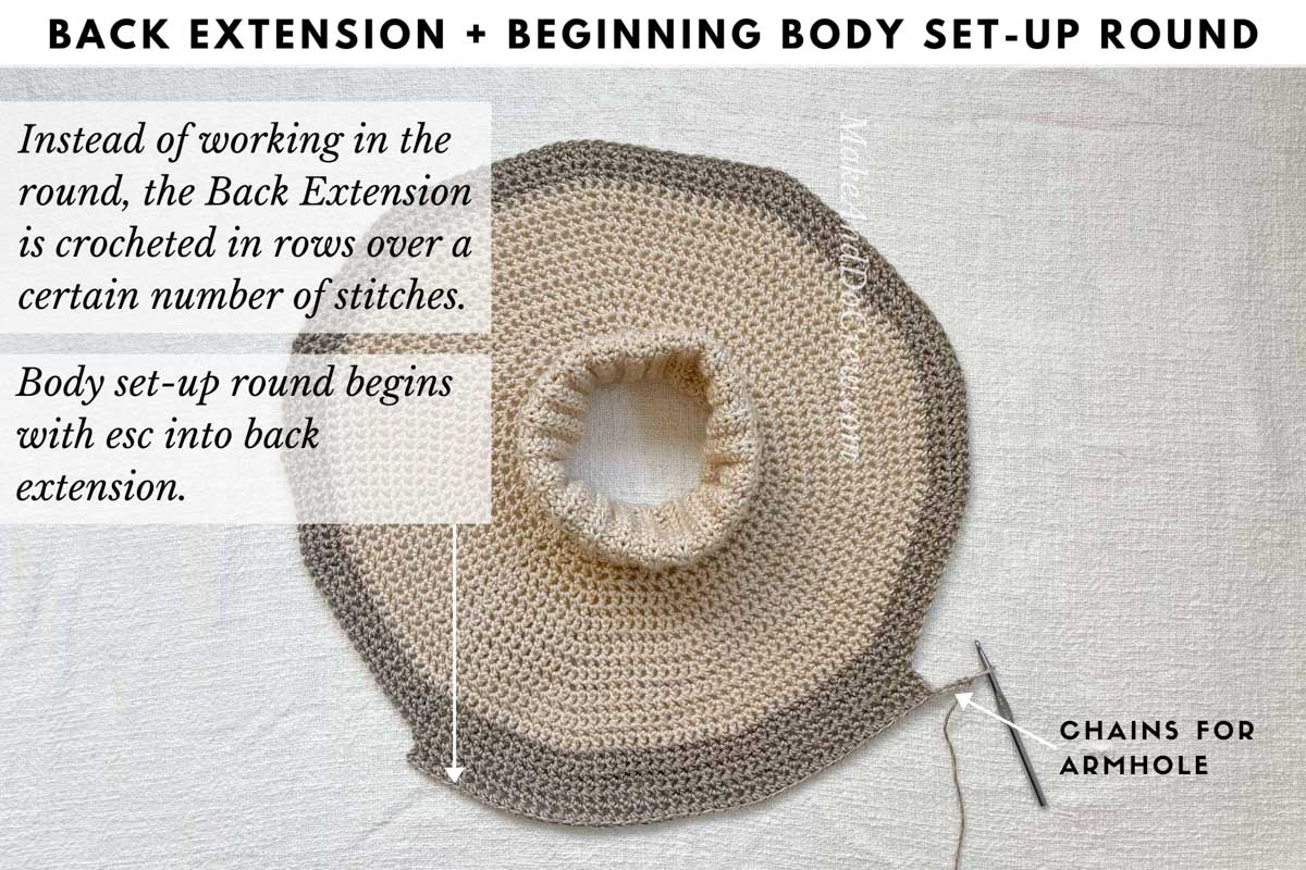 Tutorial teaching how to crochet a yoke sweater, specifically how to create a slight back extension for a more comfortable fit.