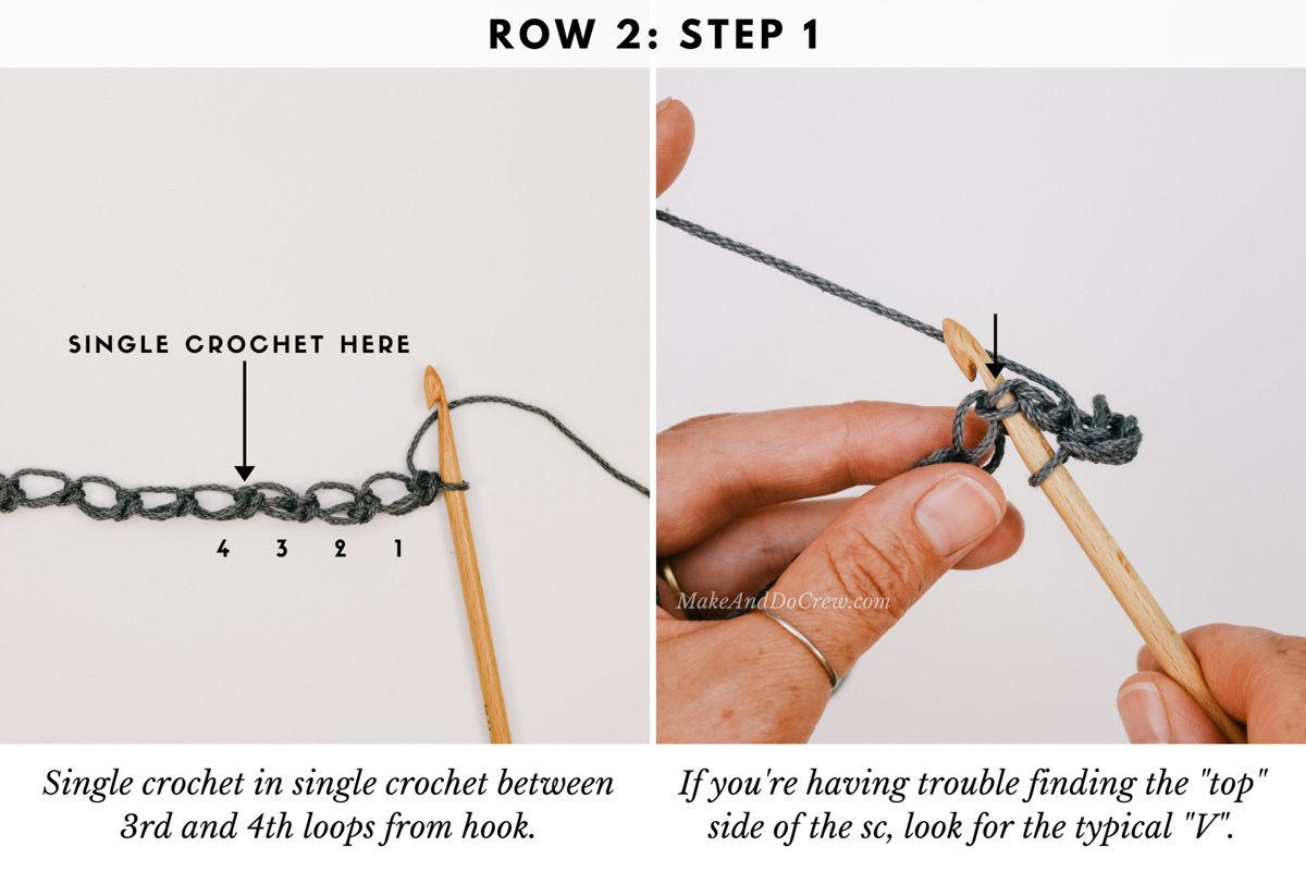 A detailed photo tutorial showing how to crochet the Solomon's Knot crochet stitch using Lion Brand 24/7 Cotton yarn.