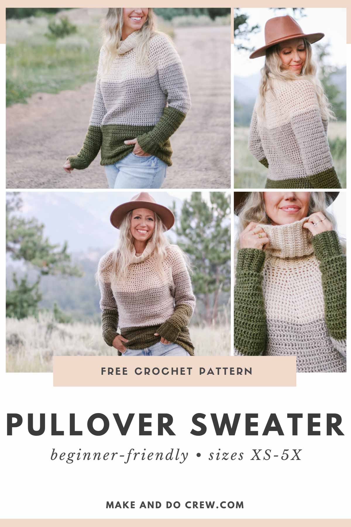 Grid of photos of a woman wearing a crochet yoke sweater pattern that has a turtleneck collar and a color block pattern.